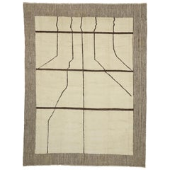 New Contemporary Moroccan Area Rug with Organic Modern Line Art Style