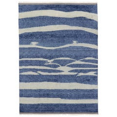 New Contemporary Moroccan Beach Style Rug with Coastal Design