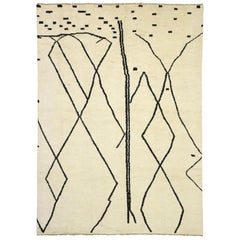 New Contemporary Moroccan Rug with Line Art Design and Tribal Style