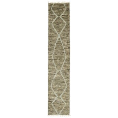 New Contemporary Moroccan Shag Hallway Runner with Mid-Century Modern Style