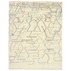 New Contemporary Moroccan Style Area Rug with Geometric Abstract Art Design