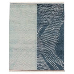 New Contemporary Moroccan Style Beach Rug with Linear Abstract Design