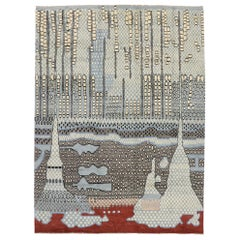 New Contemporary Moroccan Style Rug Inspired by Gunta Stolzl & Jasper Johns