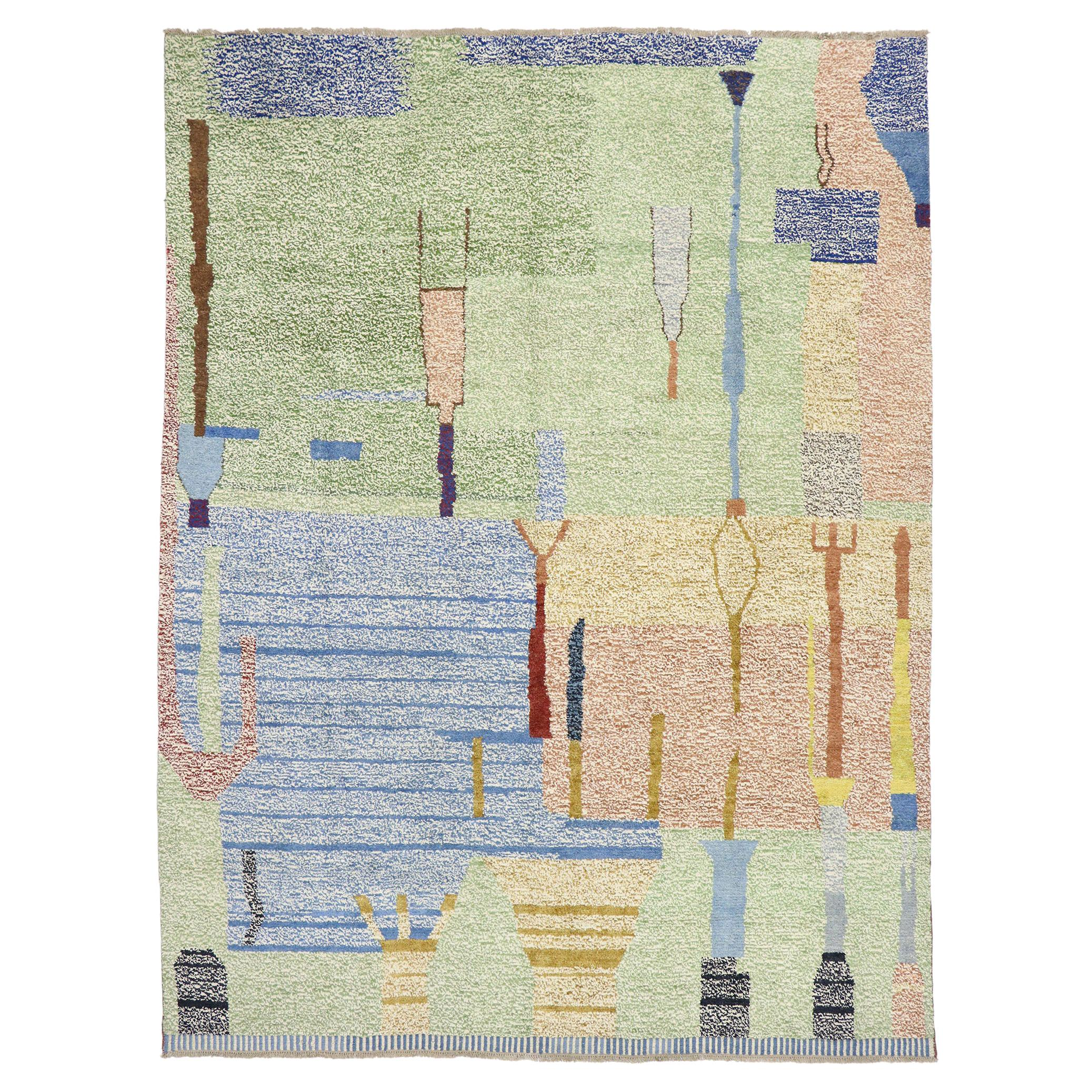New Contemporary Moroccan Style Rug with Abstract Postmodern Pointillism Design