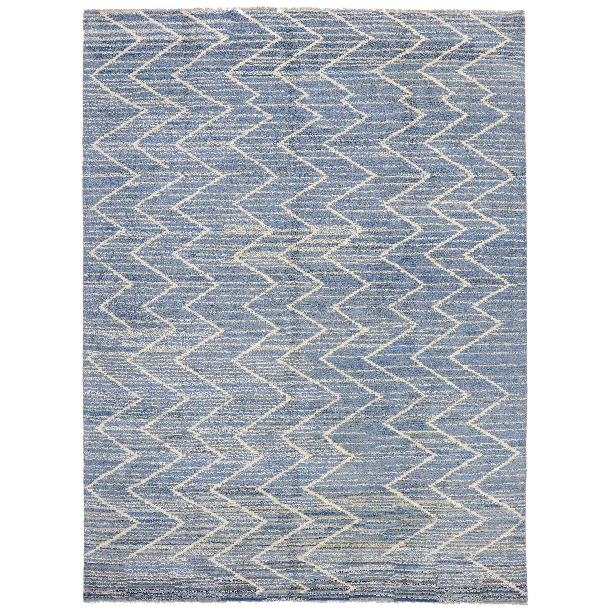 New Contemporary Moroccan Style Rug with Modern Chevron Design
