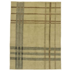 New Contemporary Neutral Plaid Tartan Rug with Ivy League Style
