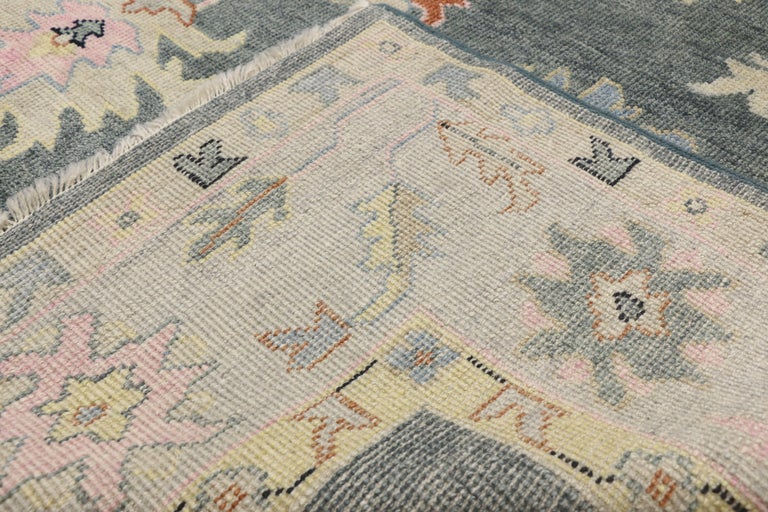 Contemporary Oushak Area Rug With Modern Glam Style And