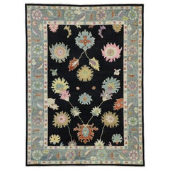 Contemporary Oushak Area Rug with Parisian Flair and Hollywood Regency Style