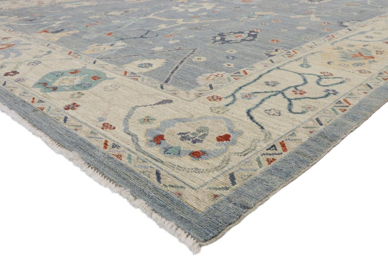 80554, new contemporary Oushak design Transitional Area rug. Blending elements from the modern world with nautical vibes, this hand knotted wool contemporary Oushak style area rug will boost the coziness factor in nearly any space. The geometric