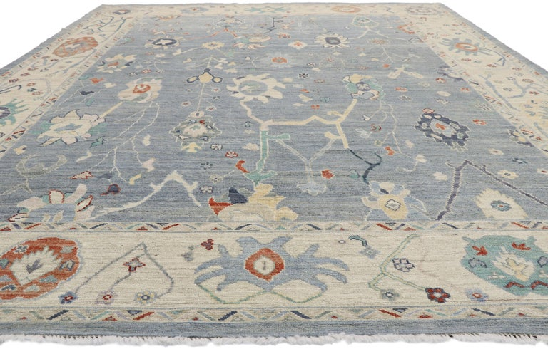 Pakistani New Contemporary Oushak Design Transitional Area Rug For Sale