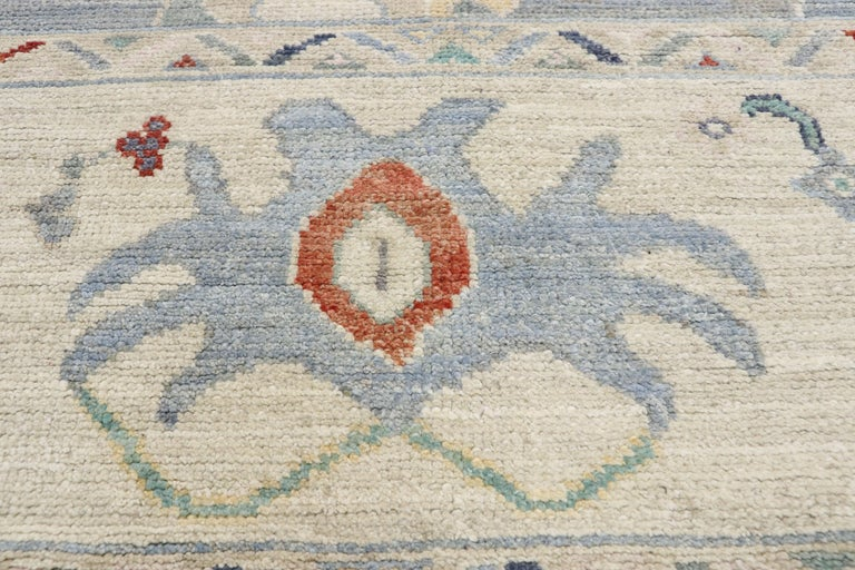 Hand-Knotted New Contemporary Oushak Design Transitional Area Rug For Sale