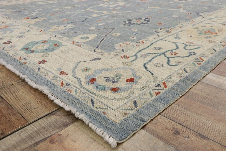 Wool New Contemporary Oushak Design Transitional Area Rug For Sale