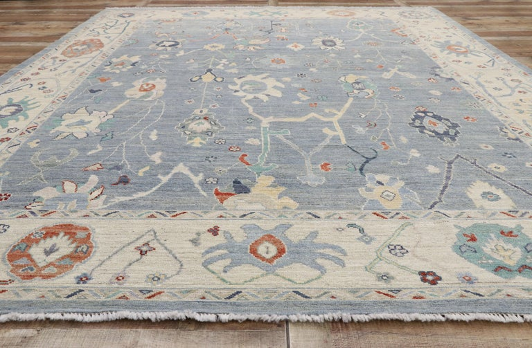 New Contemporary Oushak Design Transitional Area Rug For Sale 1