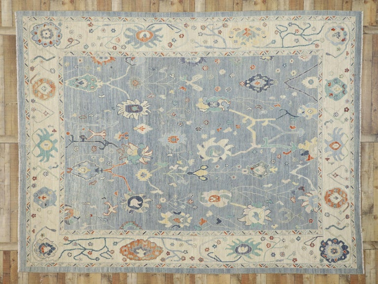 New Contemporary Oushak Design Transitional Area Rug For Sale 2
