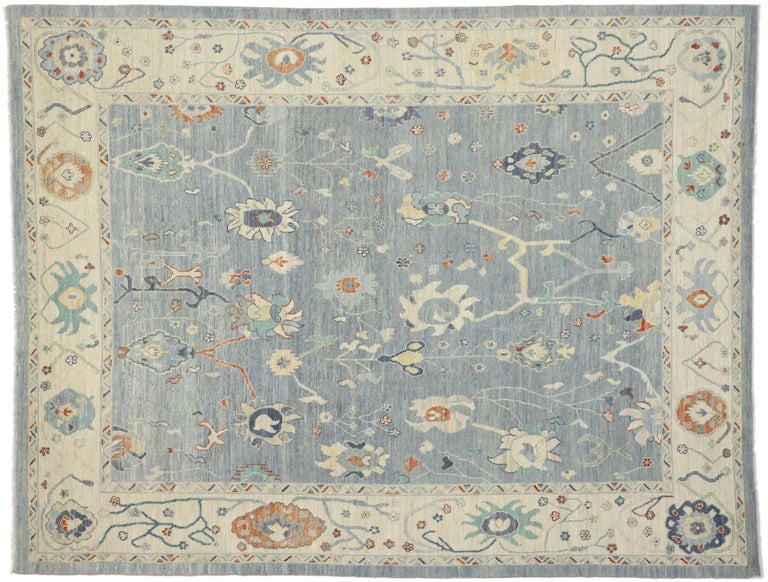 New Contemporary Oushak Design Transitional Area Rug For Sale 3