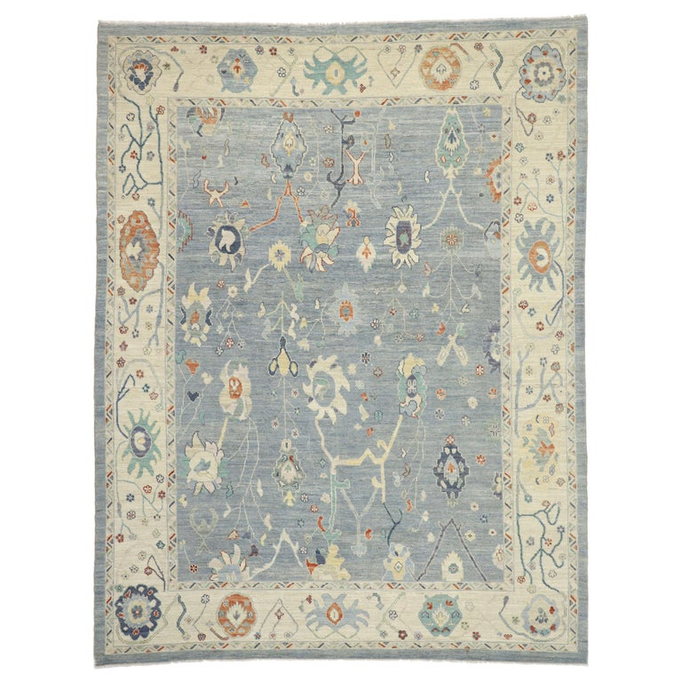 New Contemporary Oushak Design Transitional Area Rug For Sale