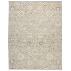 New Contemporary Oushak Style Rug with Gustavian Style and Neutral Colors