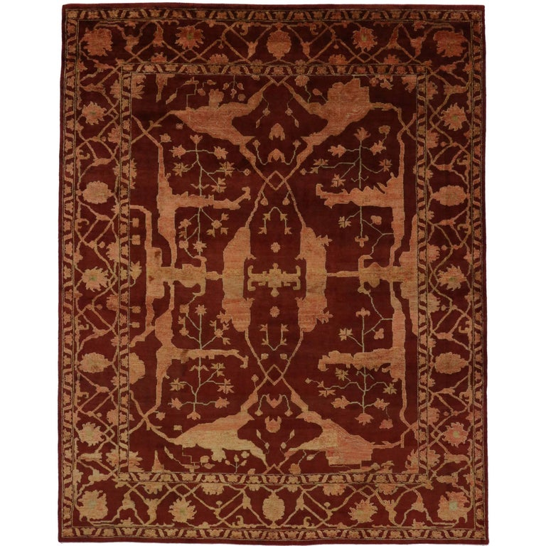 Modern Oushak Rug: New Contemporary Oushak Style Rug With Jacobean Style For