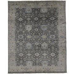 New Contemporary Oushak Style Rug with Modern Design, Silk Gray Area Rug