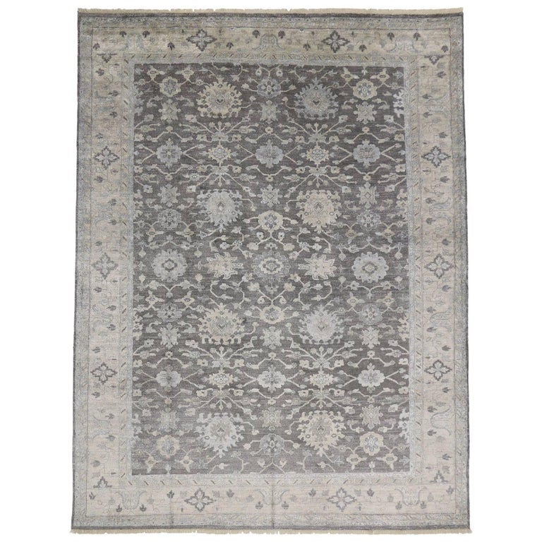 Modern Oushak Rug: New Contemporary Oushak Style Rug With Modern Design, Silk