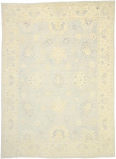 New Contemporary Oushak Transitional Area Rug with Coastal Cottage Style