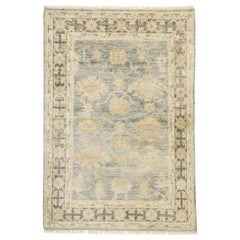 New Contemporary Oushak Wool and Silk Rug with Transitional Style