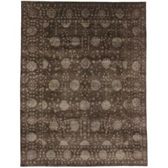 New Contemporary Persian Style Garden Rug, Brown Area Rug
