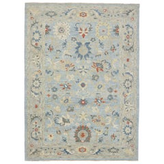 New Contemporary Persian Sultanabad Rug with Transitional Coastal Style