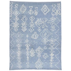 New Contemporary Sky Blue Moroccan Style Rug with Modern Tribal Design