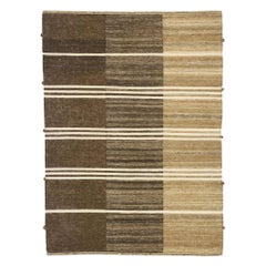 New Contemporary Striped Kilim Rug with Modern Cabin Style, Brown Flat-Weave Rug