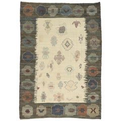 New Contemporary Turkish Kilim Souf Rug with Tribal Style, Flat-Weave Souf Rug