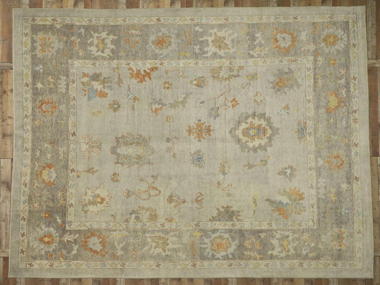 New Contemporary Turkish Oushak Area Rug With Neutral