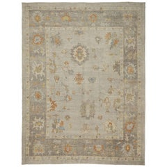 Antique Turkish Oushak Area Rug With Warm Neutral Color