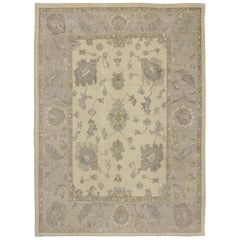 New Contemporary Turkish Oushak Area Rug with Neutral, Warm Colors