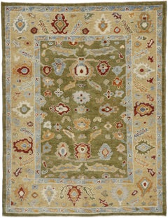 New Contemporary Turkish Oushak Area Rug with Postmodern Style and Earthy Colors