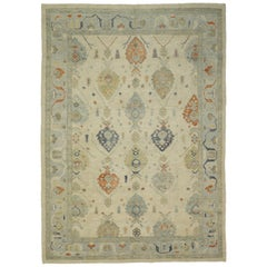 New Contemporary Turkish Oushak Large Area Rug with Transitional Style