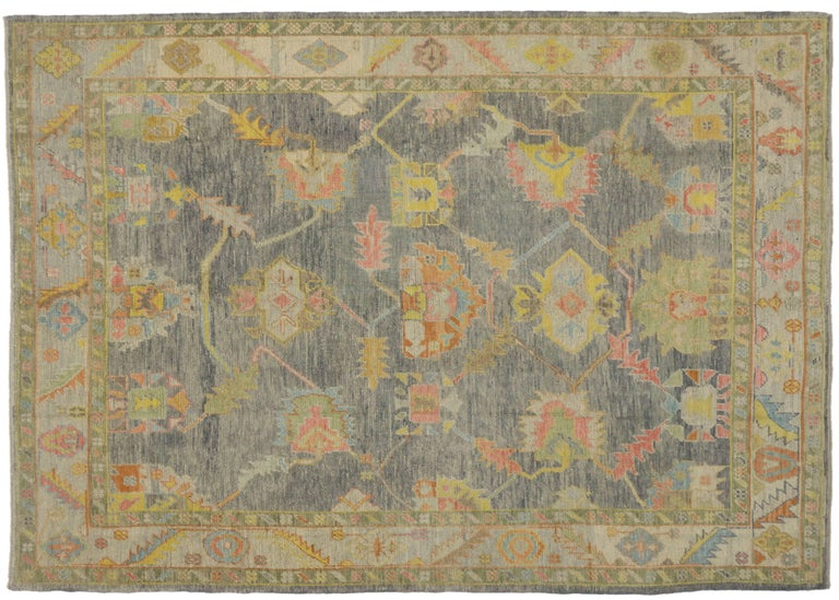Wool New Contemporary Turkish Oushak Rug in Pastel Colors For Sale