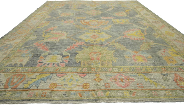 Hand-Knotted New Contemporary Turkish Oushak Rug in Pastel Colors For Sale