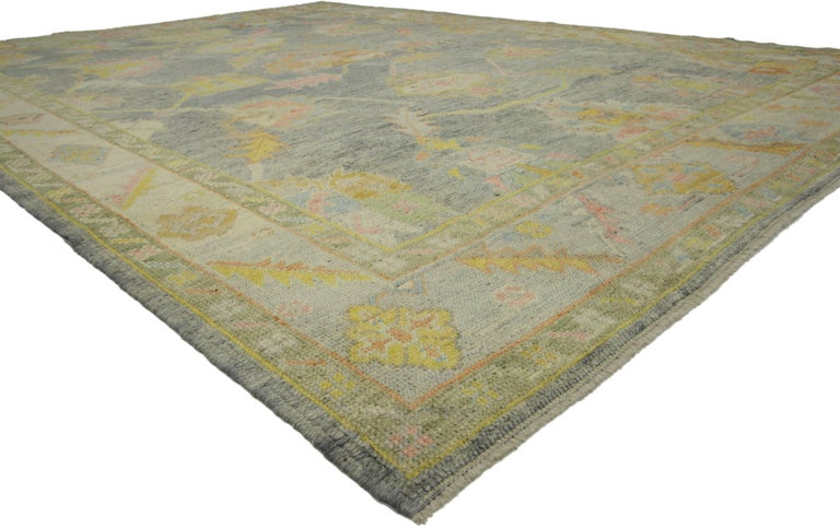 52284, new contemporary Turkish Oushak rug in pastel colors. Highly stylish yet tastefully casual, this contemporary Turkish Oushak rug with pastel colors and tribal boho chic style is ideal for nearly any fashion-forward home. This timeless Oushak