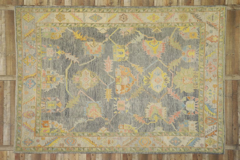 New Contemporary Turkish Oushak Rug in Pastel Colors For Sale 1