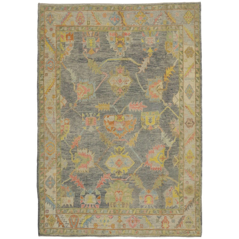 New Contemporary Turkish Oushak Rug in Pastel Colors For Sale