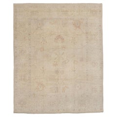 New Contemporary Turkish Oushak Rug with Gustavian Style and Neutral Colors