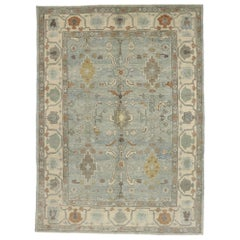 New Contemporary Turkish Oushak Rug with Modern New England Cape Cod Style