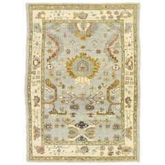 New Contemporary Turkish Oushak Rug with Modern Transitional Gustavian Style