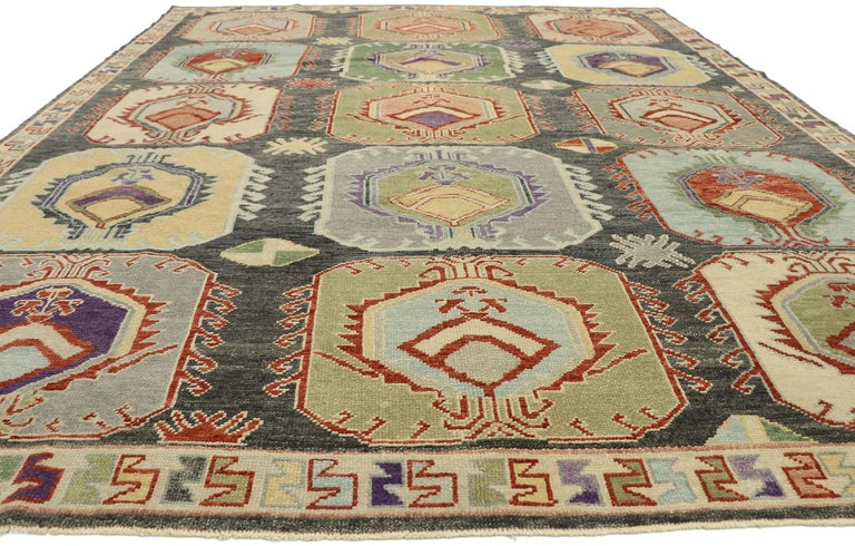 Hand-Knotted New Contemporary Turkish Oushak Rug with Modern Tribal Boho Chic Style For Sale