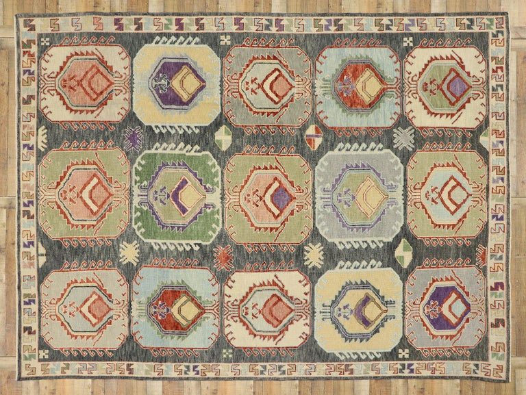 New Contemporary Turkish Oushak Rug with Modern Tribal Boho Chic Style For Sale 3