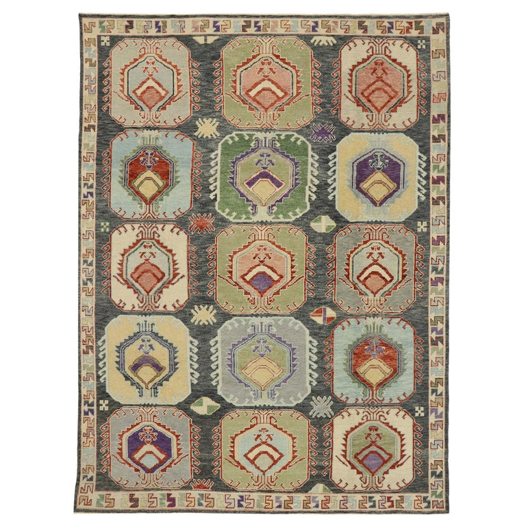 New Contemporary Turkish Oushak Rug with Modern Tribal Boho Chic Style For Sale