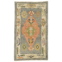 New Contemporary Turkish Oushak Rug with Postmodern Arts & Crafts Style
