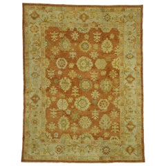 New Contemporary Turkish Oushak Rug with Rustic Tuscan Style