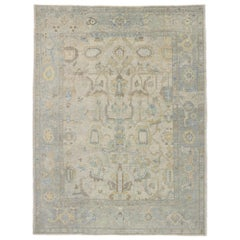 New Contemporary Turkish Oushak Rug with Transitional Modern Style